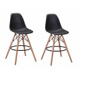 TABOURET DE BAR Lot 2 tabourets de bar noirs - chaise haute lounge