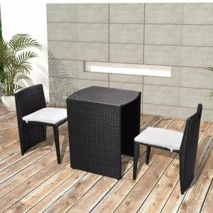 Ensemble table et chaise de jardin Mobilier de jardin 5 pcs Noir Résine tressée- 1 ta
