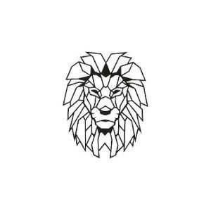 TABLEAU - TOILE Décoration Metallique Lion, Couleur: Noir