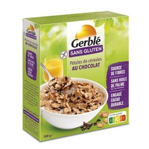 CÉRÉALES PETIT DEJ  GERBLE Pétales de riz, avec des copeaux de chocola