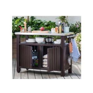 ABRI BÛCHES Table-coffre auxiliaire barbecue