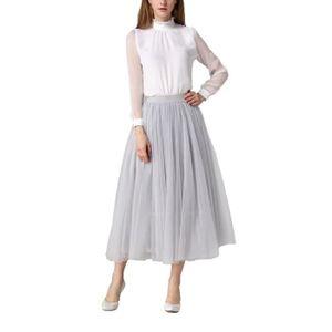 JUPE jupe midi femme plissée taille haute élastique fil