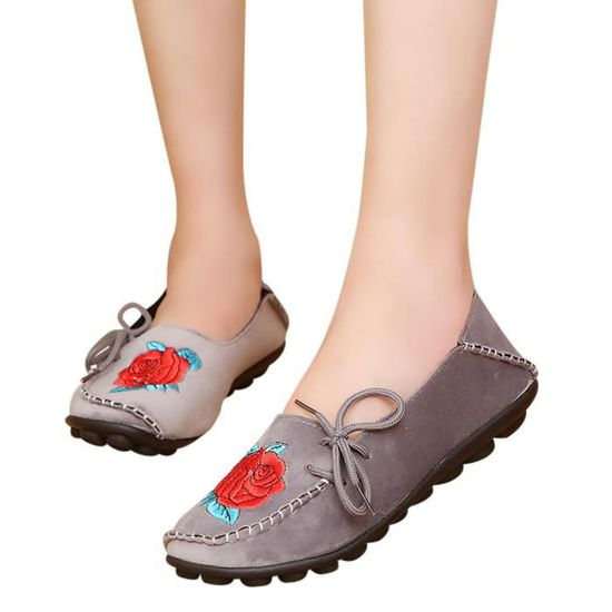 Femmes's Flats Embroidery Soft Bottom Shoes Soft Slip-On Casual Boat Shoes  Gris Gris Gris - Achat / Vente slip-on