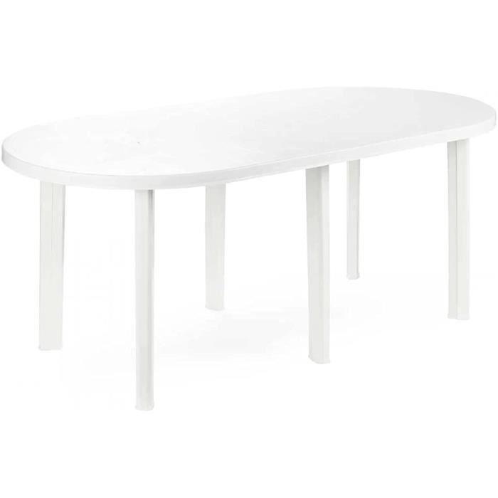 ZBYY Table de salle à manger ronde ovale en résine blanche 181 x 90 x 72 cm[341]