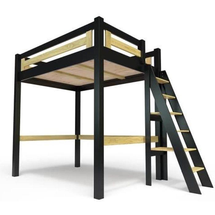 Lit Mezzanine Alpage bois + échelle hauteur réglable - 120x200 - Noir-Miel