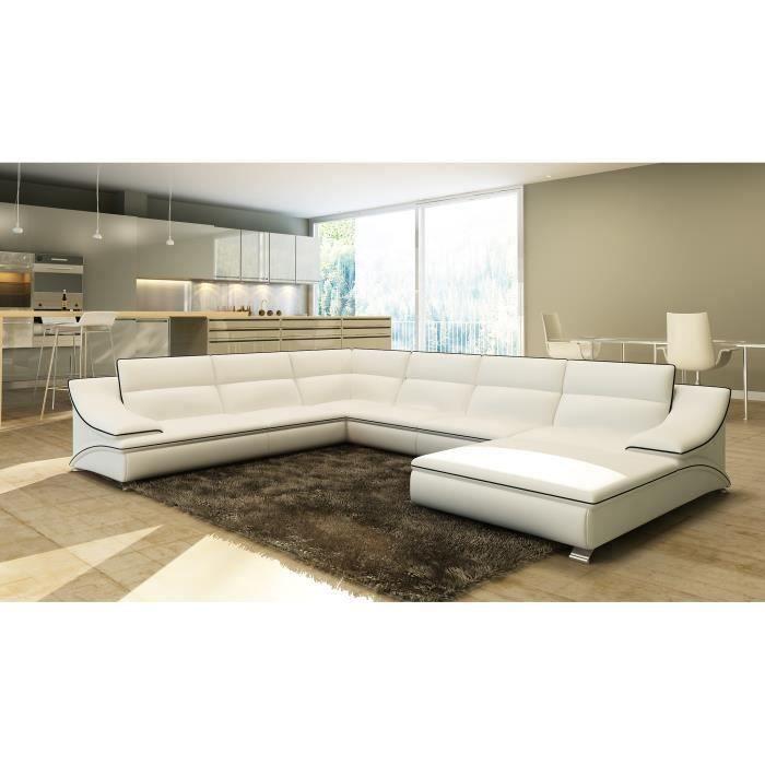 Canapé d'angle panoramique modulable en cuir blanc et noir STON