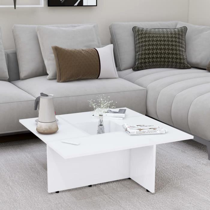 Table Basse De Salon 79x79cm Blanc Mat (aggloméré) Design Carré