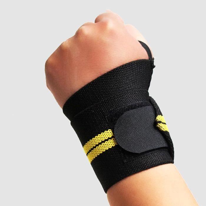 Support de poignet poignets pour musculation haltérophilie - Noir + Jaune