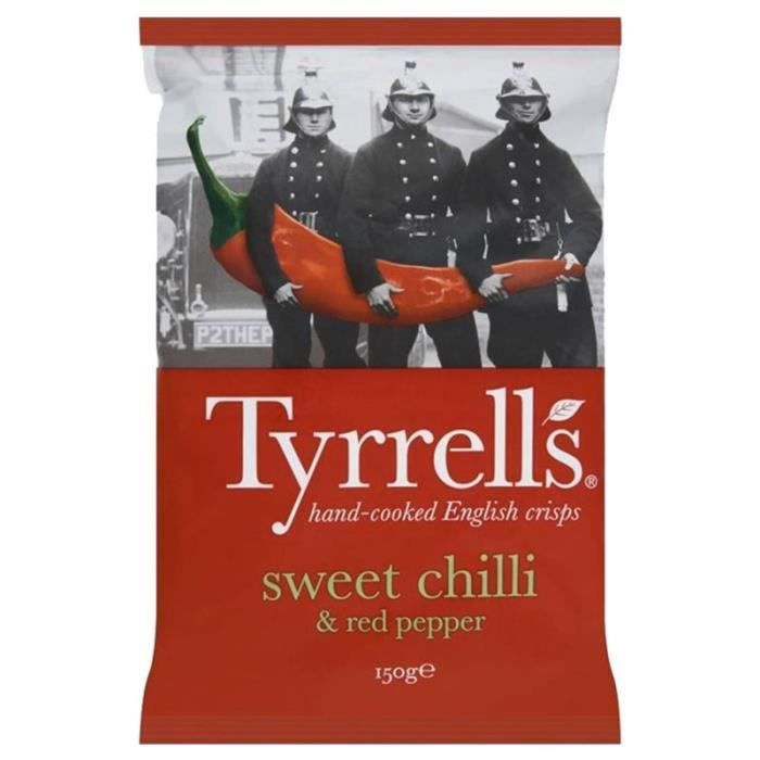 Tyrrell's Chips Piment Doux 150g (lot de 10 x 3 sachets)