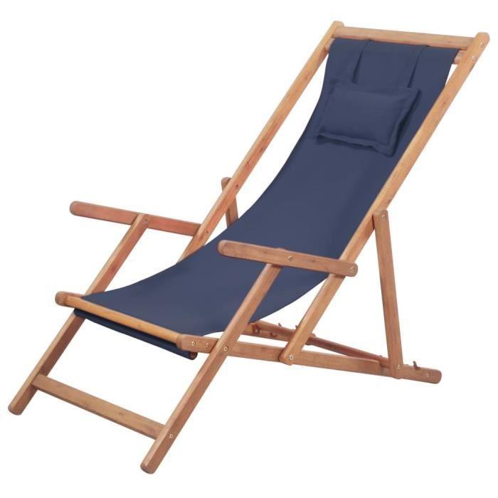 Chaise pliable de plage Tissu et cadre en bois - Bleu