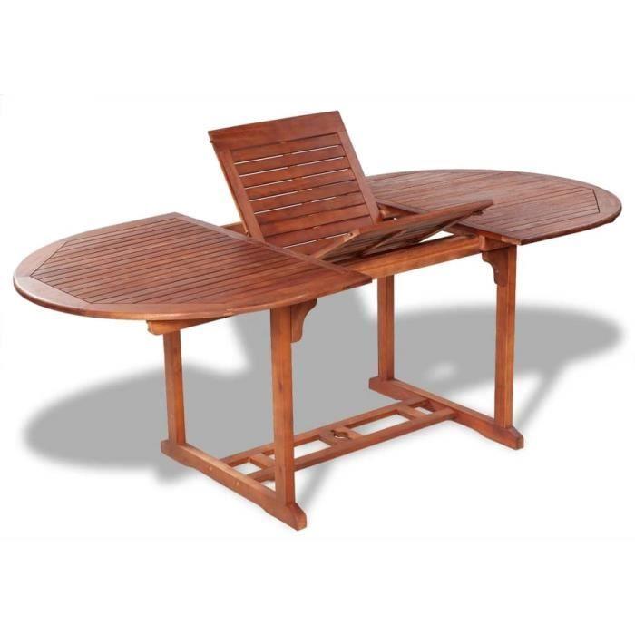 Table de salle à manger d'extérieur extensible en bois d'acacia