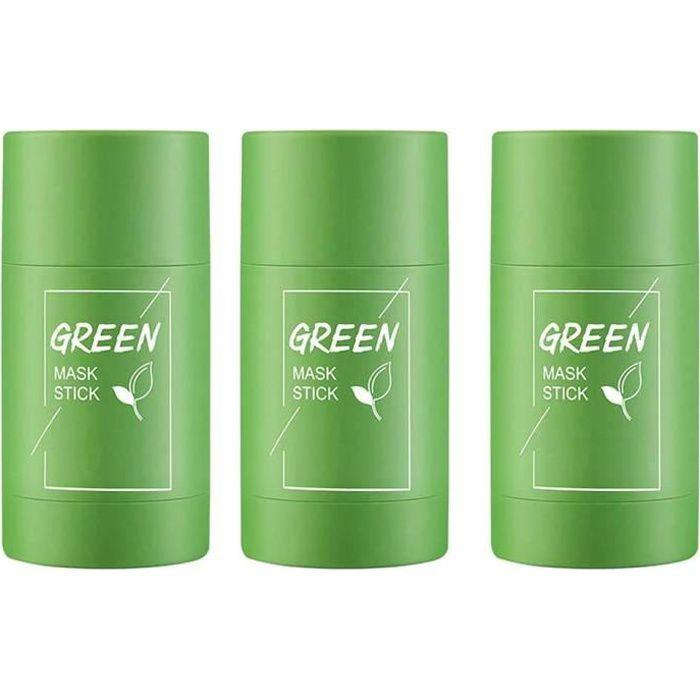 3PCS Green Tea Purifying Clay Stick Mask Oil Control Anti-Acne Pore Free Reduce Blackheads Brighten Skin Facial Hydration