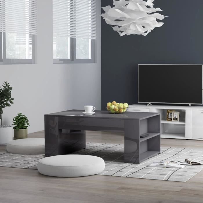 Table basse design industriel Table de Salon contemporain Cafén Gris brillant 100x60x42 cm Aggloméré