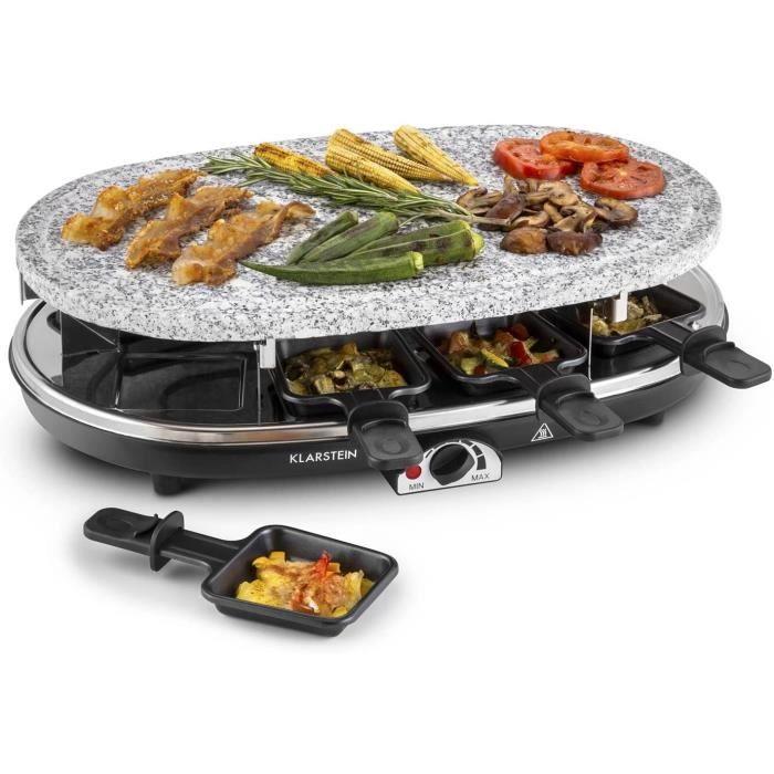 Steaklette - Raclette, Grill de table, 1500 W, température réglable en continu, pierre naturelle granit, grill faible en gras, [161]