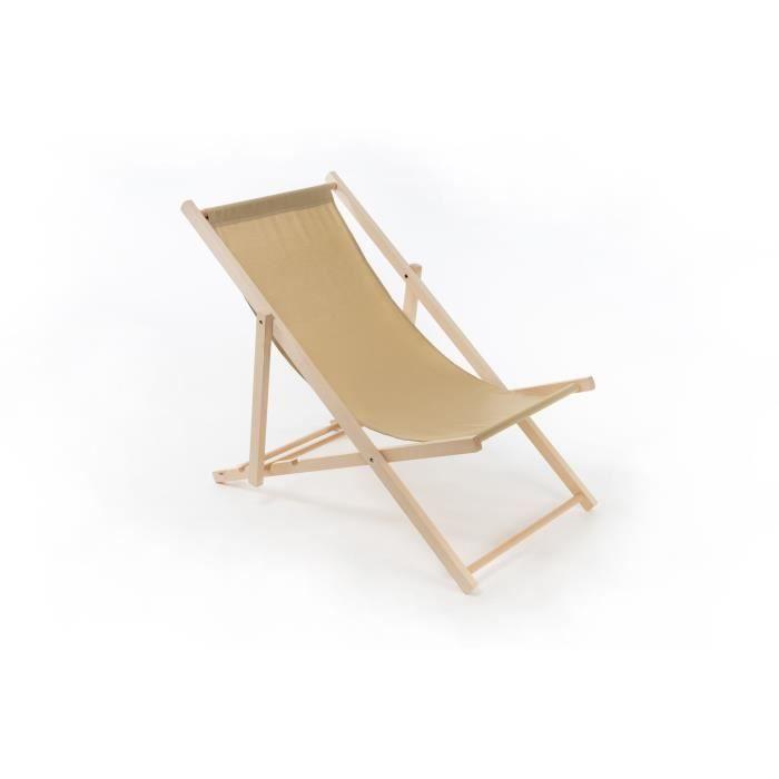 Chaise Longue en Bois de Hêtre de Jardin, de Plage, pliable, Classic [beige]