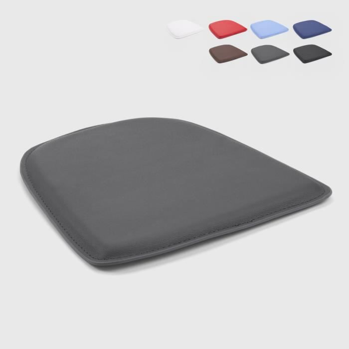 4 Coussins rembourré en simili cuir chaise tolix intérieur et extérieur 32x32 FIX - couleur:Gris foncé