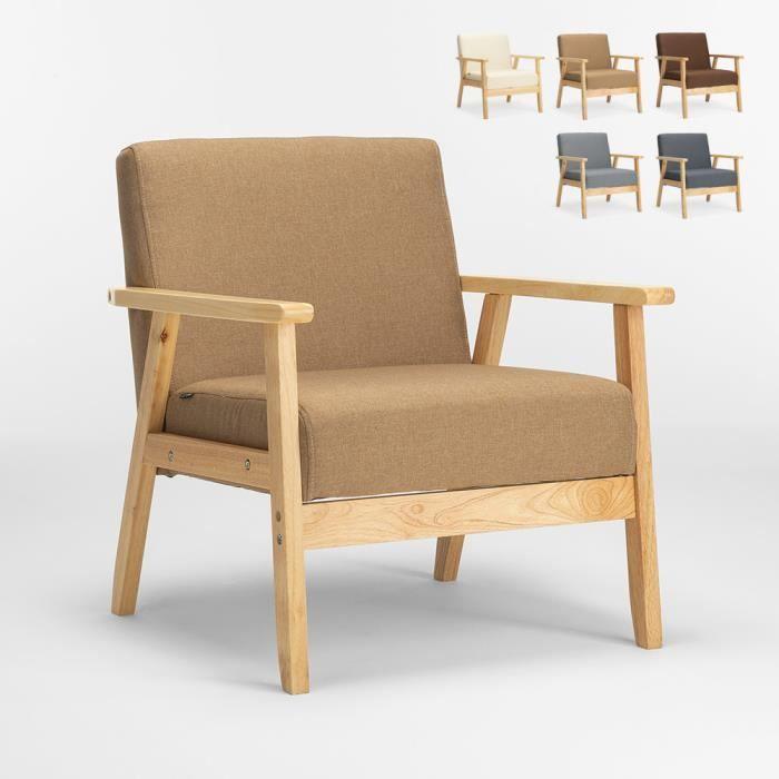 Fauteuil Chaise scandinave design vintage en bois avec accoudoirs Uteplass, Couleur: Beige
