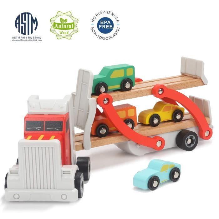 TOP BRIGHT Jouet Camion Enfant en Bois,Cadeau Camion Voiture pour Enfant 2 Ans, Jouet Camion Transporteur pour Garçon de 1 an 2 Ans