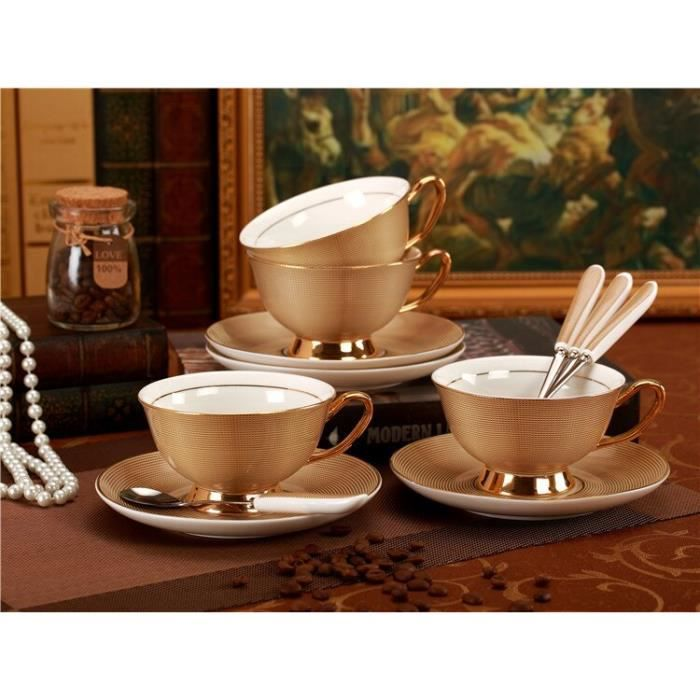 Service à café avec soucoupes,Service à thé en porcelaine royale, tasse et soucoupe en céramique de luxe or, Design - Type 3 sets#A2