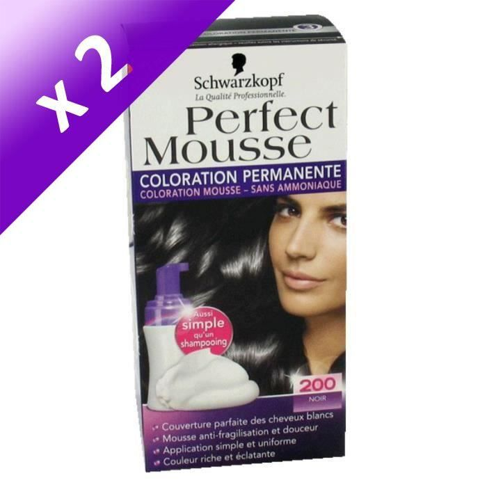 SCHWARZKOPF Coloration Permanente Perfect Mousse 200 - Noir (Lot de 2)