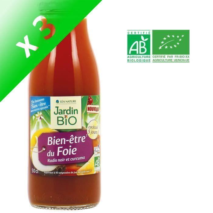 JARDIN BIO Boisson Bien-être du foie - Radis noir et curcuma Bio - (Lot de 3x 509 g)