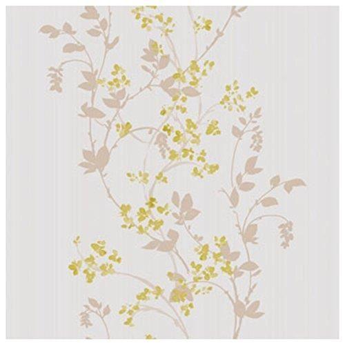 Caselio Melody ? Papier Peint avec feuilles et fleurs romantiques de couleur os, café avec lait et pistache - 60027008