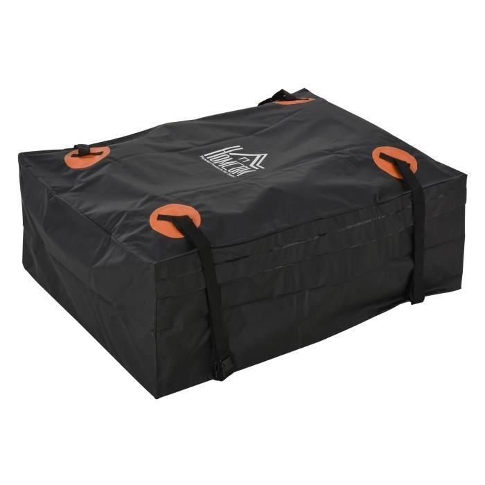 Sac de toit voiture pour voyage coffre de toit voiture souple 566L polyester PVC indice étanchéité 5000+ noir orange 124x99x47cm
