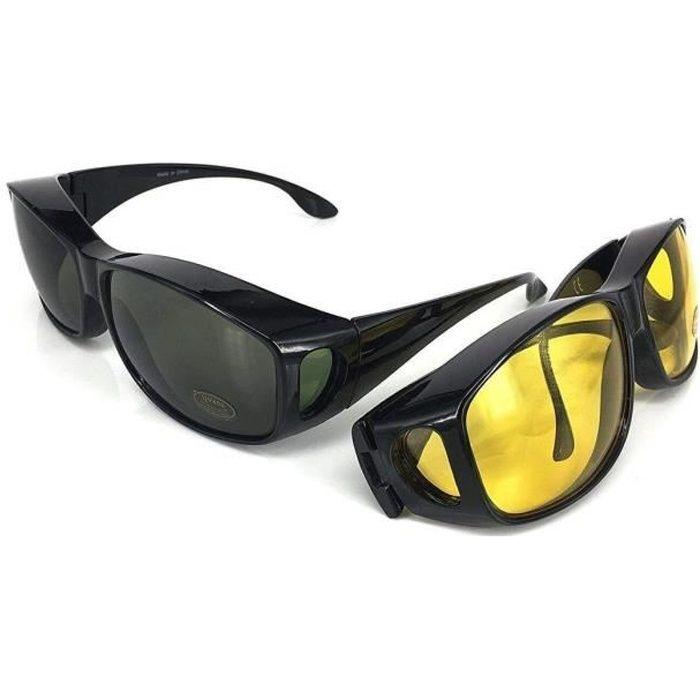 Lot de 2 pcs Surlunette de soleil, nuit protection anti UV SurLunettes de conduite Jour et nuit Noire