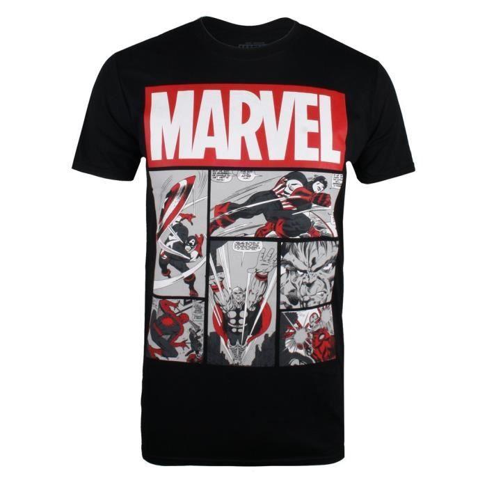 DC Comics T-Shirt à Manches Courtes Pour Homme - Motif Imprimé Héros Bande Déssinée - Noir