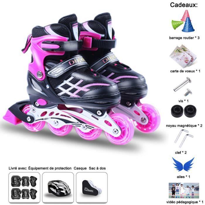 Rollers En Ligne Réglable- Roller In Line Enfants- Patins à Roulettes Roues LED Illuminées- Avec Protection Casque Sac+Cadeaux 7pcs
