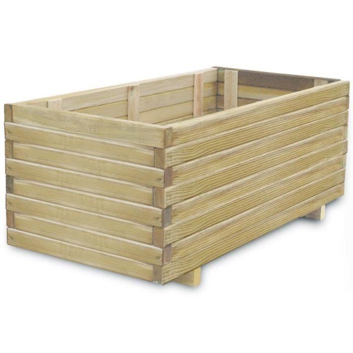 Haute qualité Luxueux Magnifique Economique Jardinière rectangulaire 100 x 50 x 40 cm Bois FSC