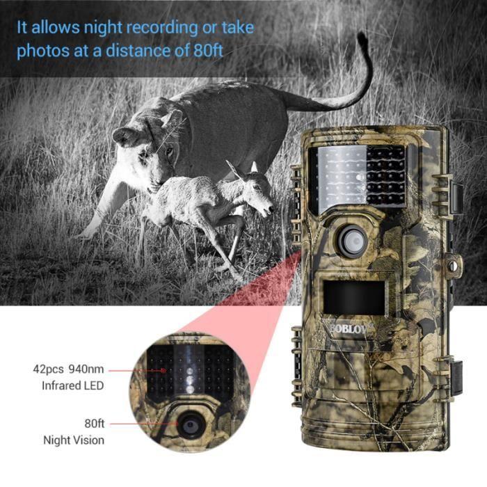 1 pc caméra extérieure Vision nocturne de chasse infrarouge activée par le KIT CAMERA DE SURVEILLANCE - PACK VIDEOSURVEILLANCE