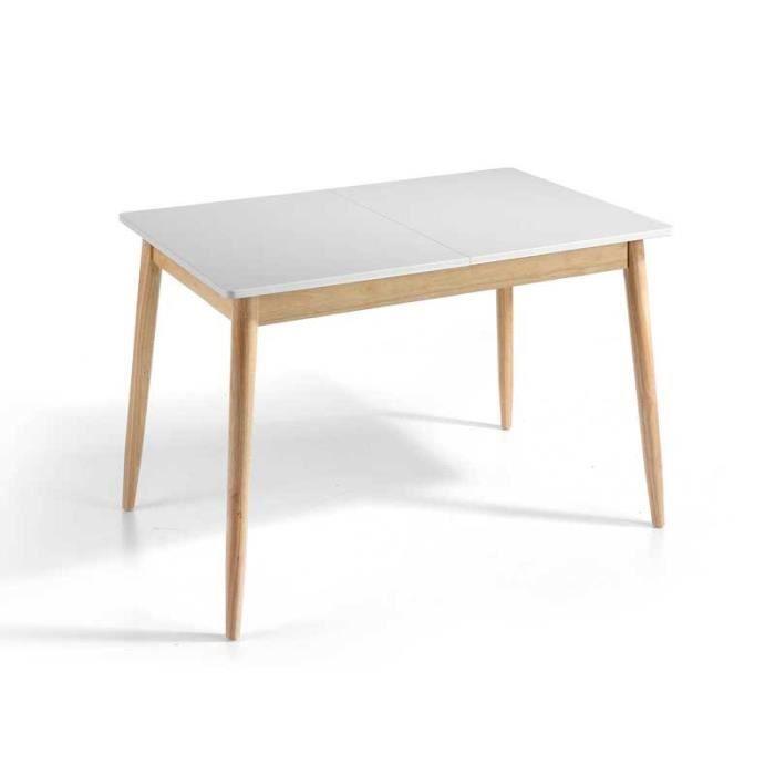 Table de repas à allonge Blanc/Chêne - KAIKOURA n°1 - L 120/160 x l 80 x H 76