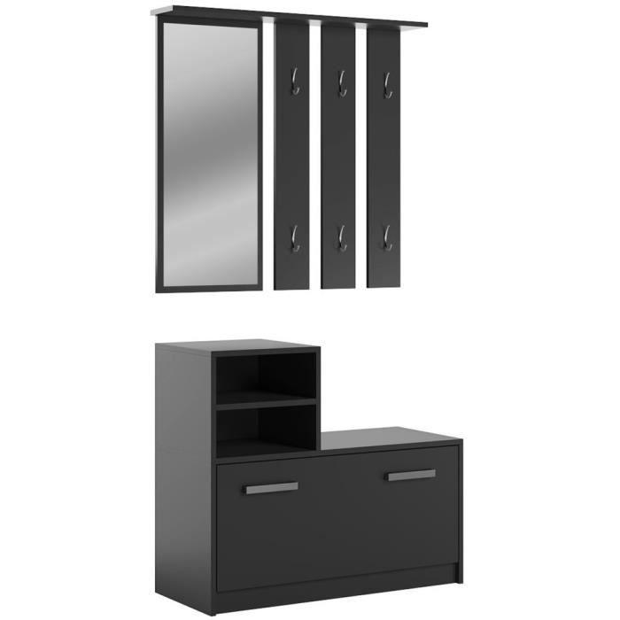 Vestiaire d'entrée, meuble d'entrée AMBER noir