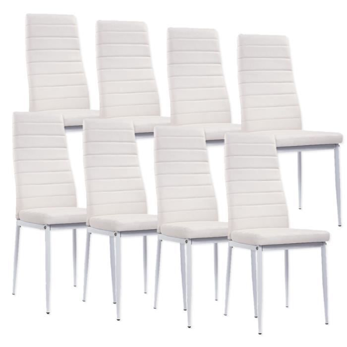 lot de 8 chaises blanche iris achat vente chaise blanc. Black Bedroom Furniture Sets. Home Design Ideas