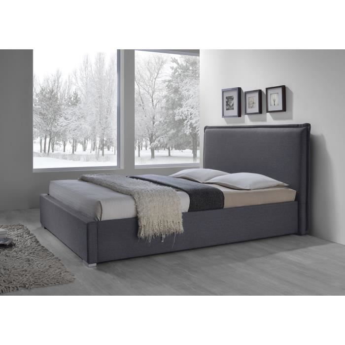 lit adulte design nova en tissu gris 160x200 cm sommier meuble id al pour votre chambre. Black Bedroom Furniture Sets. Home Design Ideas