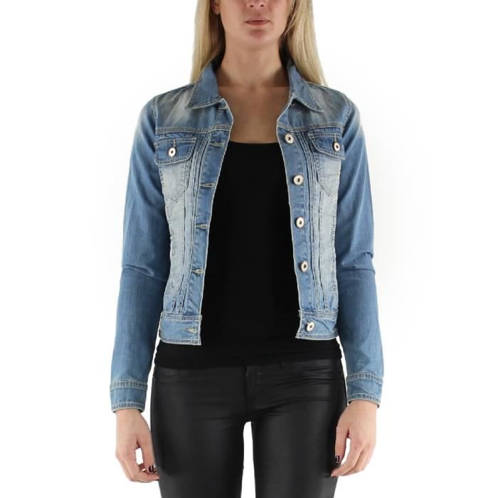 veste en jean femme bleu clair taille l 40 coton bleu achat vente veste 2009943875780. Black Bedroom Furniture Sets. Home Design Ideas