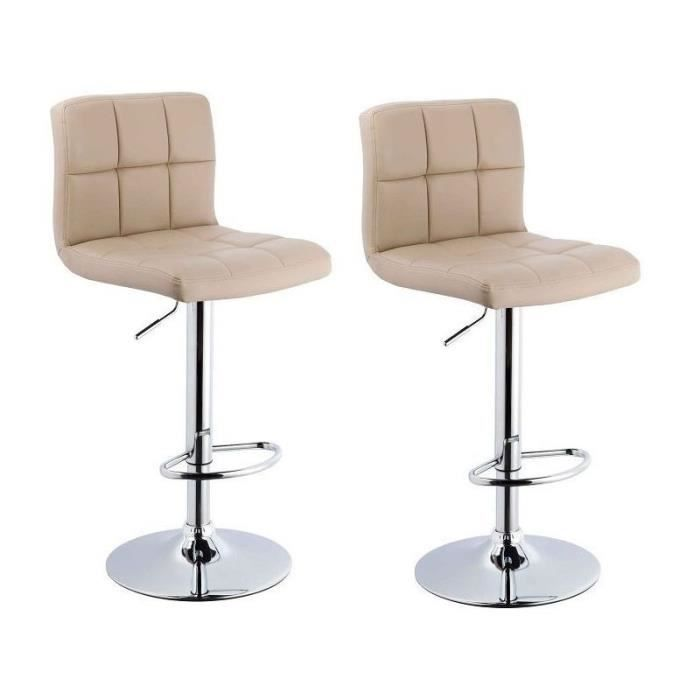 lot de 2 tabourets de bar beige 1209069 achat vente tabouret de bar cuir acier les soldes. Black Bedroom Furniture Sets. Home Design Ideas
