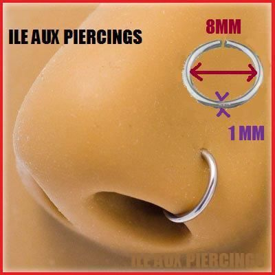 piercing nez anneau micro fin acier septum 1x8mm achat vente anneau de piercing piercing nez. Black Bedroom Furniture Sets. Home Design Ideas