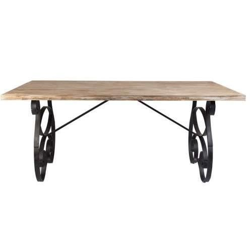 Table d ner bois et m tal vical home achat vente table for Table a diner bois et metal