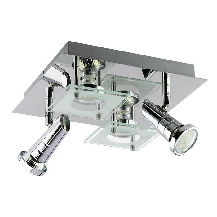 Trango 4-flamme Plafonnier LED design I lampe de salle de bain TG3089 I  lampe de salle de bain I spot de plafond I plafonnier ave