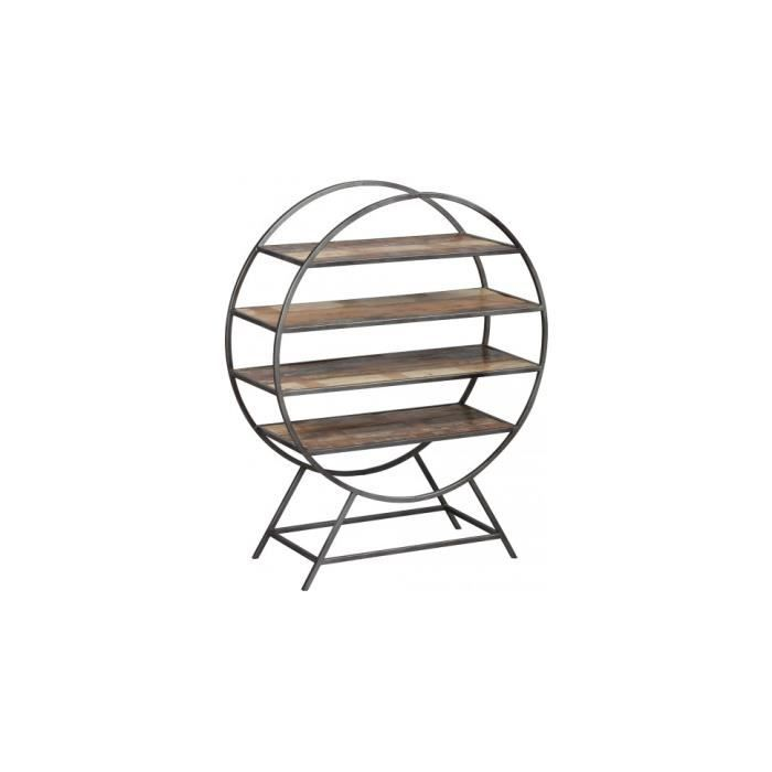 MEUBLE ÉTAGÈRE Etagère ronde acier 4 niveaux en palissandre vieil