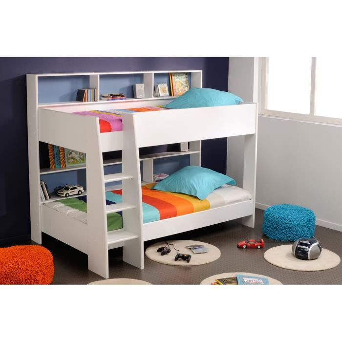 lits superpos s enfant 90x200 cm blanc et bleu rose twin. Black Bedroom Furniture Sets. Home Design Ideas