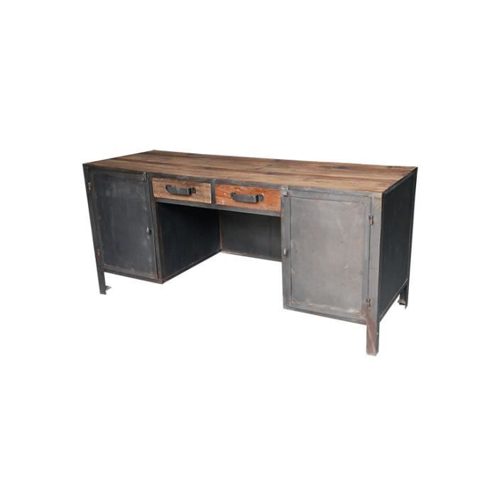 bureau caruso style industriel en bois et m tal achat. Black Bedroom Furniture Sets. Home Design Ideas
