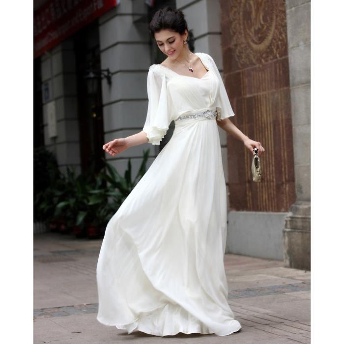 Mode Et Simple Robe Longue La Mousseline Blanche Robe De Soiree Pas Cher La Longueur De L Elegance Etage Robes Achat Vente Robe De Mariee Cdiscount