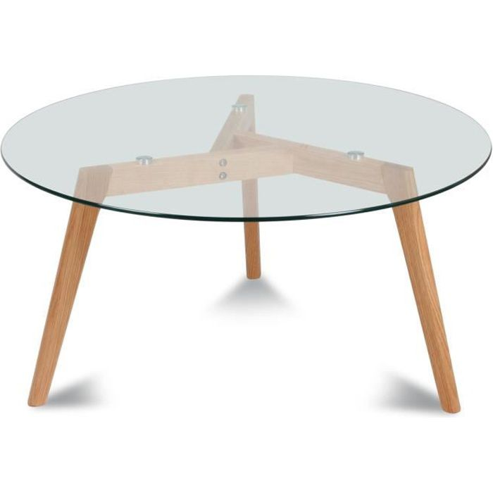 Table basse ronde verre et bois fiord achat vente table bass - Table de salon ronde en verre ...