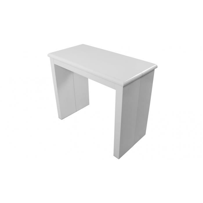 Console extensible laqu e 195 cm laqu blanc cy achat for Table extensible 80 cm de large