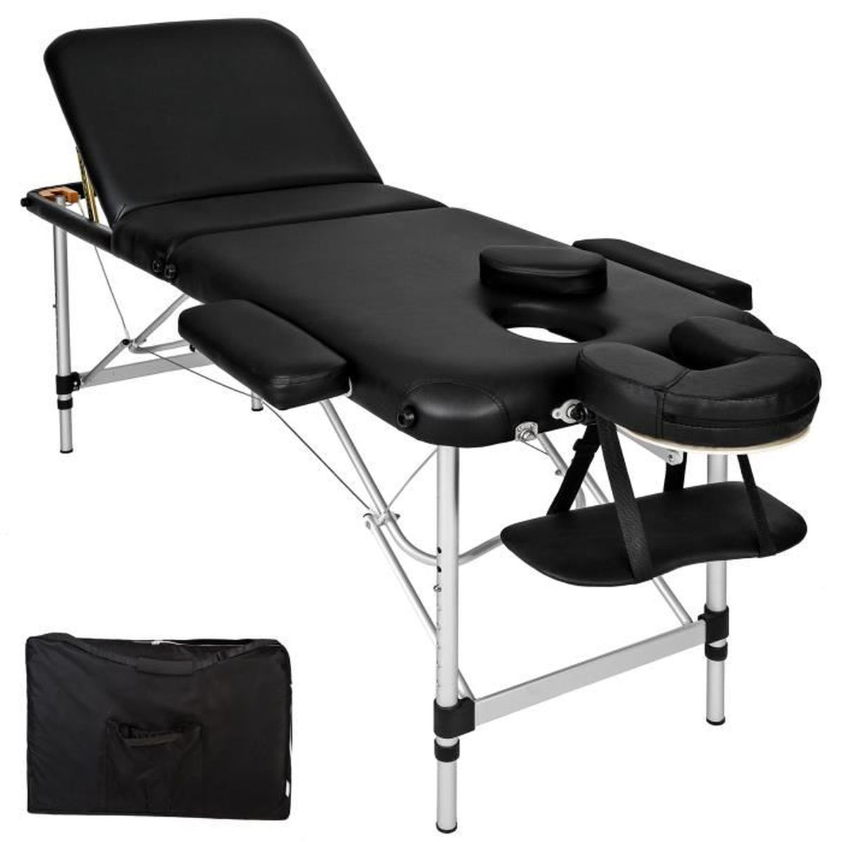 Tectake Table De Massage Pliante Bois 3 Zones Cadre En Aluminium