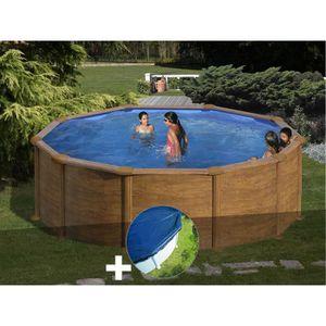 PISCINE Kit piscine acier aspect bois Gré Mauritius ronde
