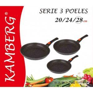 POÊLE - SAUTEUSE Poêle 20/24/28 cm kamberg, façon pierre anti-adhér